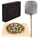 Blumtal Pizzastein & Pizzaschaufel - Pizza Schamottstein für Backofen und Grill, echte Steinofen-Pizza