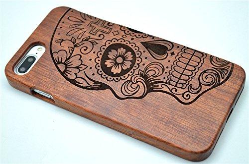Holzsammlung® iPhone 8 Plus / iPhone 7 Plus Holzhülle - Rosenholz Mandala Blume - NatürlicheHandgemachteBambus / Holz Schutzhülle für Ihr Smartphone Palisander-Schädel