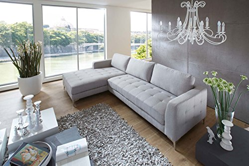 SAM® Ecksofa Soah Polstergarnitur in grau aus Stoff links - 2