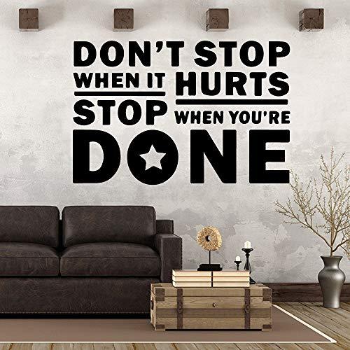 ljradj Stoppen Sie Nicht Wandaufkleber Turnhalle Dekor für Wohnzimmer Schlafzimmer abnehmbare Art Decal schwarz XL 58cm X 87cm