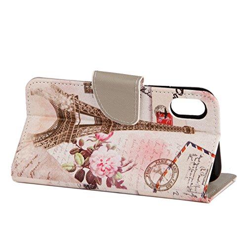 Coque pour iPhone X, Frlife | Housse en Cuir PU pour iPhone X Coque avec Étui en Silicone, Protection Complète pour Votre Téléphone Portable. couleur 7