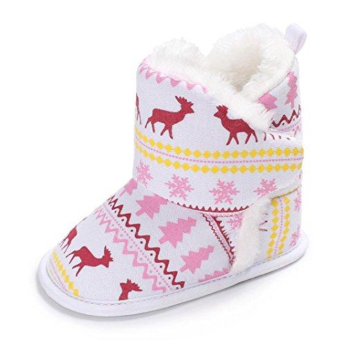 Babyschuhe Longra Baby Stiefel Schuhe Weihnachten Elch Baby Unisex Soft Sole Schnee Stiefel Lauflernschuhe Kleinkind Krippeschuhe (0-18Monate) (13CM 12 ~ 18 Monate, Pink) (Elch-mokassin)