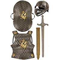 Armure de chevalier médiéval pour enfant avec casque, épée, bouclier et plastron, pour se déguiser