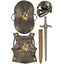 Bristol Novelty - Set per travestirsi da cavaliere medievale, completo di elmo, spada, scudo e pettorale, disponibile in colore bronzo o argento