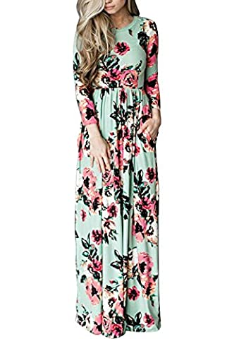 Womens Summer Casual Floral Print 3 4 Sleeve Boho Dress Ladies Evening Party Long Dresses Sundress Beach Maxi Dress with Pocket 6 8 10 12 14 16 18 (UK 6-8,