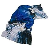 Prettystern 180cm langer chinesische Malerei Pinsel Freihand Zeichnung kunstdruck Seidenschal - Seerosen Teich Weiß Blau Z08
