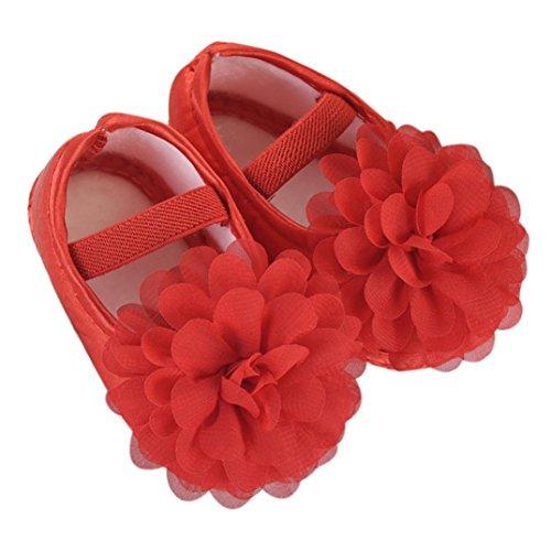 Walshk Toddler Baby Girl Chiffon Flower Elastic Band Chaussures de marche pour nouveau-nés Rouge