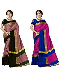 Art Decor Sarees Cotton Saree With Blouse Piece (Pack Of 2) (Ashi N Combo_Dusty Pink Black & Dark Pink Blue_Free...