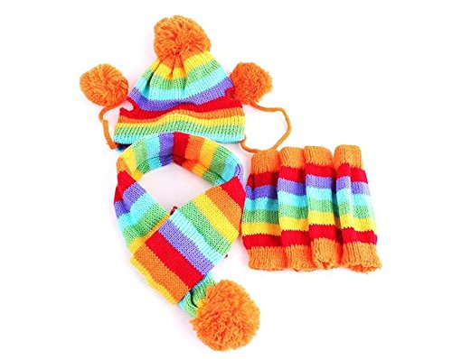 5 Fünf Pet Winter 3 Set Knit Blend Schal Hat Stulpen Hund Puppy Kleidung Supplies - Blend-pakete