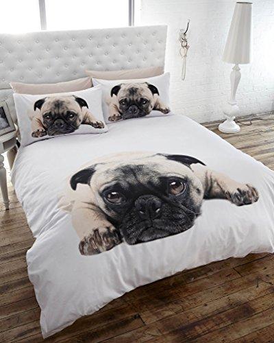 SUPERKING DUVET SET PUG DOG PRINTED BED SETS – CUTE PUPPY DOG QUILT COVER SETS
