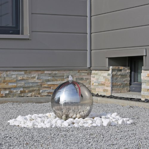 CLGarden Gartenbrunnen ESB3 aus Edelstahl mit 30cm Edelstahlkugel poliert inkl. LED Beleuchtung direkt am Wasseraustritt der Kugel Edelstahlbrunnen Kugelbrunnen -