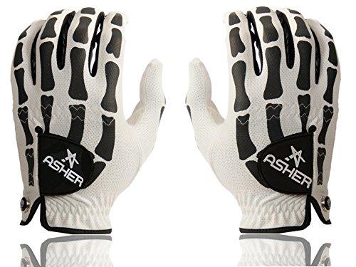 (Asher Death Grip White Herren Handschuhe - Paar (Bikehandschuhe, Fahrradhandschuhe, Autohandschuhe, Golfhandschuhe) (ML (9)))