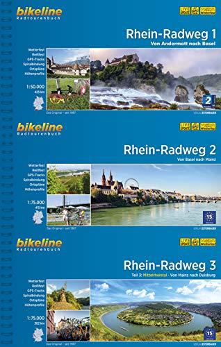 Bikeline Radtourenbuch Rhein-Radweg (Band 1+2+3) von Andermatt über Basel, Mainz bis Duisburg im Geschenkset