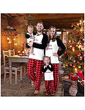 Baywell Weihnachts Schlafanzüge Familie Pyjamas Set Familien Outfit Mutter Vater Kind Baby Nachtwäsche Langarm...