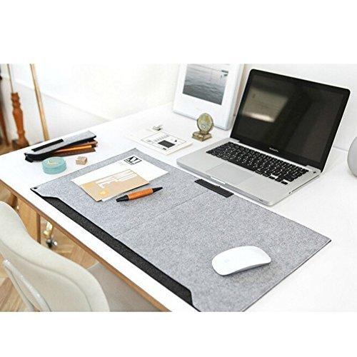 Sztara Multifunktionale Filz-Schreibunterlage für Laptop, Tastatur, Mauspad, groß, 64x 33cm, Tisch-Organizer für Home Office, Laptops/Desktops grau