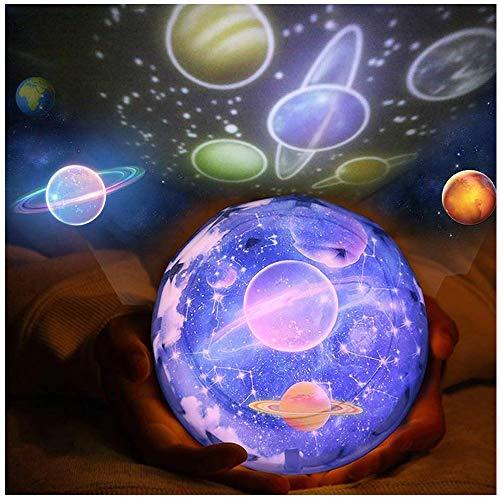 VNEIRW Sterne Nachtlicht Projektor Lampe, Einschlaflicht, Nachttischlampe, Romantische Sternennacht Planet Unterwasserwelt Lichter mit 5 x Filme Card, für Party Geburtstag Spielzeug (Schwarz)