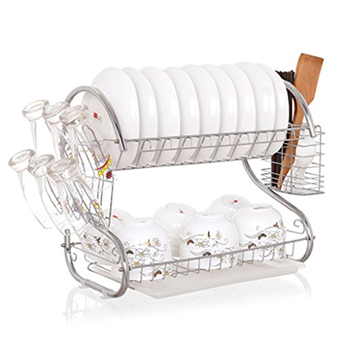 Double Layer Dish Rack S-Shaped Metal Kitchen Organizer Storage Shelf Plate Cutlery Cup Drain Bowl Rack Sponge Holder