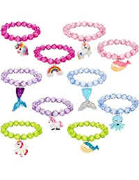 10 Piezas de Pulsera de Abalorios Pulsera de Animal con Colgante de Unicornio Favores de Fiesta de Niños Pulseras para Niñas