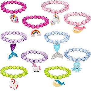 Chuangdi 10 Stück Perlen Armbänder Einhorn Anhänger Tier Armbänder Party Favors Armband