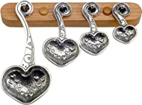 Crosby & Taylor Heart to Heart Pewter Measuring Spoon Set on Cherry Wood Display Strip