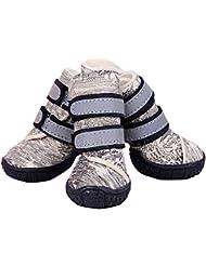 Semoss 4 Set Perros Accesorios Zapatos Perro Impermeable Perro Botas Antideslizante Zapatos Botas Perro Calcetines Animal,Beige,Talla:8.0 x 7.0 cm (L x B)