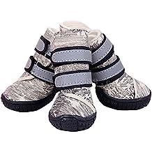Semoss 4 Set Perros Accesorios Zapatos Perro Impermeable Perro Botas Antideslizante Zapatos Botas Perro Calcetines Animal,Beige,Talla:5.0 x 4.4 cm (L x B)