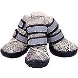 Semoss 4 Set Perros Accesorios Zapatos Perro Impermeable Perro Botas Antideslizante Zapatos Botas Perro Calcetines Animal,Beige,Talla:7.0 x 6.2 cm (L x B)