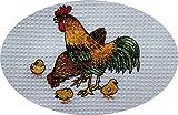 Triolino Waffelpique-Geschirrtuch in 100 Baumwolle mit schöner Stickerei, Größe:50 cm x 70 cm;Farbe:Hühner