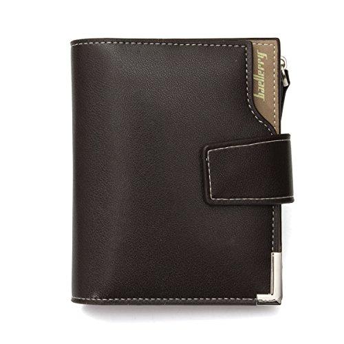 Herren Geldbeutel, Tezoo Brieftasche Portemonnaie aus Erstklassigem Leder Multifunktion mit Reißverschluss kleine Geldbörse Große Kapazität Mappe Geldtasche Wallet Kaffeebraun