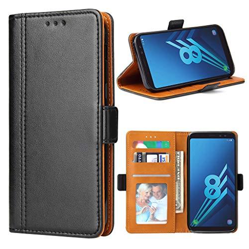 Bozon Galaxy A8 2018 Hülle, Leder Tasche Handyhülle für Galaxy A8 2018 Schutzhülle Flip Wallet mit Ständer und Kartenfächer/Magnetic Closure (Schwarz)
