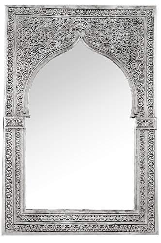 Orient Spiegel Wandspiegel Malika 54cm Silber Messing | Großer Marokkanischer Flurspiegel Messingrahmen orientalisch verziert | Orientalischer Vintage Badspiegel ohne Beleuchtung | Orientalische Deko