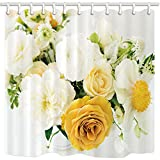 KOTOM Flower Shower Curtains, White And Yellow Rose Modern Artsy Print Fabric Bathroom Decoration Curtain and Hooks, Waterproof Mildew Resistant 69x70inches
