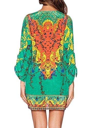 sourcingmap Femme Cravate Imprime Col 3/4 Manche Ample Droit Robe Vert