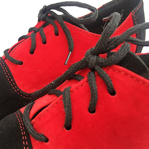 Oasap Women's Color Block Lace-up Latin Dance Shoes Red