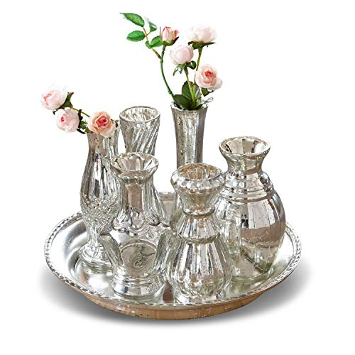 Loberon Tablett mit Vasen Blairville, Glas, H/B/T/Ø ca. 14,5/24 / 24/24 cm, antiksilber