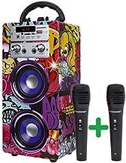 DYNASONIC (3.ª generación) - Altavoz Portátil Bluetooth | Lector USB y SD, Radio FM Incorporada y 2 Micrófonos
