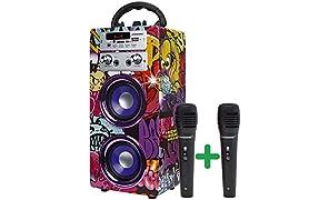 DYNASONIC (3.ª generación) - Altavoz Portátil Bluetooth | Lector USB y SD, Radio FM Incorporada y 2 Micrófonos, Batería Recargable (Modelo 12)