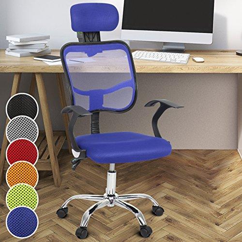 Miadomodo Sedia poltrona girevole da ufficio scrivania sedile e schienale regolabili con poggiatesta imbottito colore (Sedia Da Ufficio Poggiatesta)