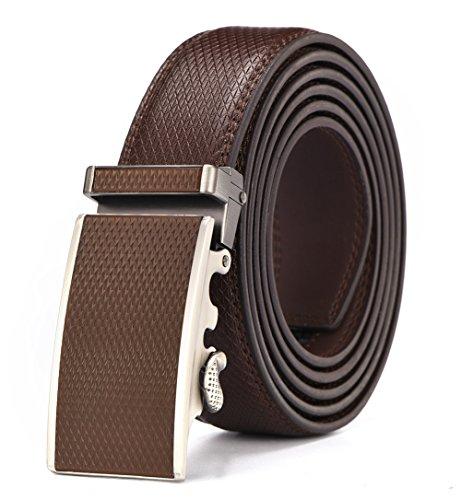 Autolock® Ledergürtel Herren Ohne Löcher Gürtel mit Automatik Schnalle und Größen bis XXXL ((130CM) bis zu 44 Inch, braun)
