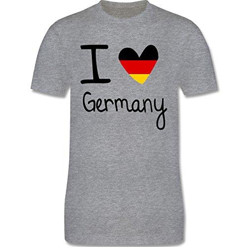 EM 2016 - Frankreich - I love Germany - Herren Premium T-Shirt Grau Meliert
