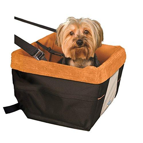 Kurgo Autositz für Hunde, Geeignet für Kleine Hunderassen, Schwarz/Orange, Skybox Booster Seat, 00044