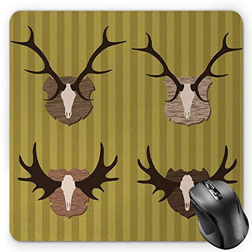BGLKCS Hunting Mauspads Mouse Pad, Deer and Moose Horns Trophy on Striped Background Mountain Cottage Print, Standard Size Rectangle Non-Slip Rubber Mousepad, Khaki Multicolor -