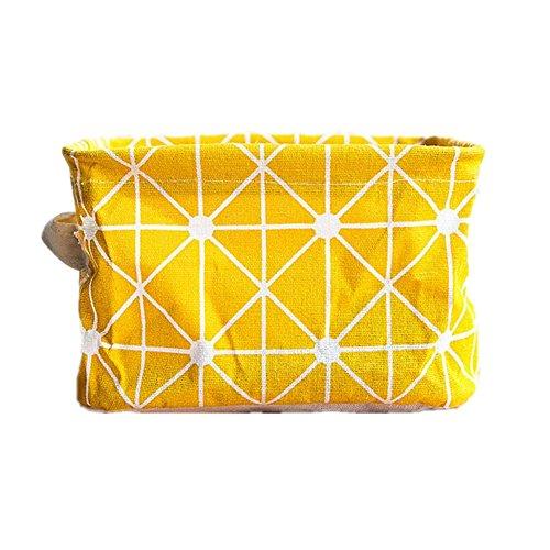 Badewanne Bettwäsche-schrank (Aufbewahrungskorb mit 2 Griffen auf beiden Seiten 20 x 15 x 13 cm Stoff Organizer Korb Stoffbox Spielkiste für Kleidung Büc (ein Stück Gelbe Streifen))