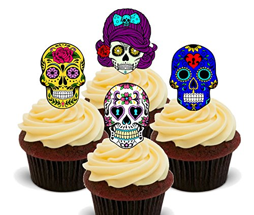 Sugar Skulls – Essbare Kuchen decorations- Stand-up Wafer Cupcake Topper, 24er-Pack (Womens Billig Fancy Dress)
