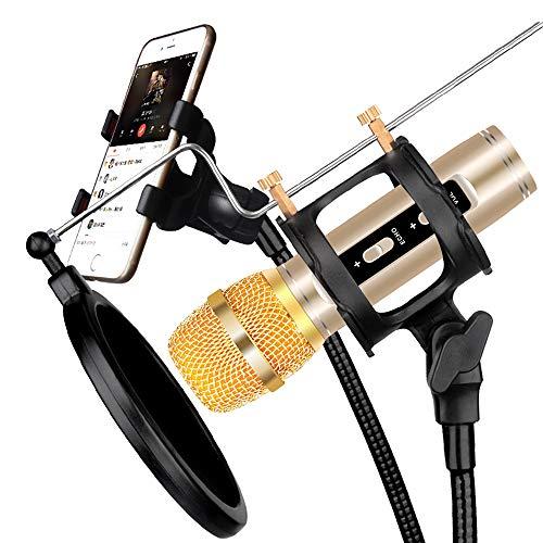 Electz PC-Mikrofon, USB Plug Professionel Heimstudio Kondensator Mikrofon zum Podcast, Aufzeichnung, Online-Chatten mit Stand, Pop Filter,Gold+universalbracket -