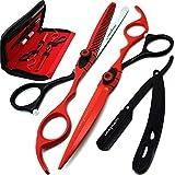 Saaqaans MSS-04 Set de Ciseaux Coiffure Professionnel - Perfectionnez pour la Coupe de Cheveux élégante, Garniture votre Barbe et Moustache (Rouge & Noir)