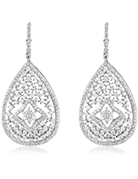 shazé Silver Brass Rhodium Plated Glitter Earrings for Women