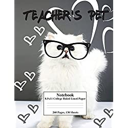 White Kitty Teacher's Pet: 8.5x11 college ruled composition notebook perfect for school&college. Click author?s name&find the same cover, with WIDE ... leave a review for the author stating so.