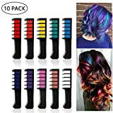 leegoal 10 Color Hair Chalk Combs, Non-Toxic Washable Temporary Hair Colour Chalk