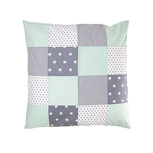 ULLENBOOM ® Baby Bettdeckenbezug 80x80 Mint Grau (auch als Kinderwagendecke, Stubenwagen Decke oder Dekokissen geeignet, Motiv: Sterne, Patchwork)